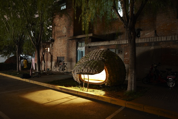 The outside view of Dai's egg-style house at night in Beijing, Dec 1st, 2010. [Photo/Beijing Times ]