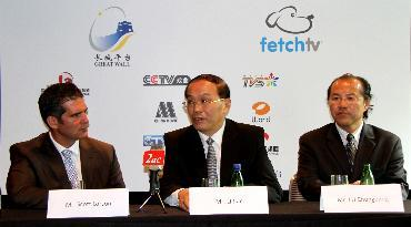 A package of mandarin TV channels were delivered to Australian audience via broadband on November 29, as FethchTV, an emerging Internet Service Provider (ISP) launched the Great Wall TV Package(GWTV) from China. Li Jian (middle), president of China International Television Corporation, which runs the GWT, speaks during the opening ceremony.