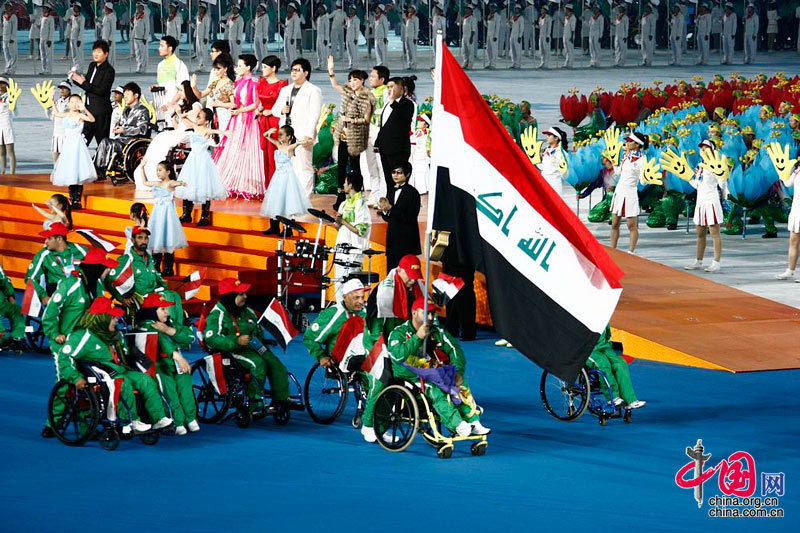 Athletes march in at Opening Ceremony of the Asian Para Games. [Zhao Na/China.org.cn]