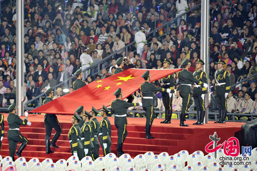 The opening ceremony of the 2010 Asian Para Games is held in Guangzhou, capital city of south China's Guangdong Province, on the evening of December 12. [Zhao Na/China.org.cn]