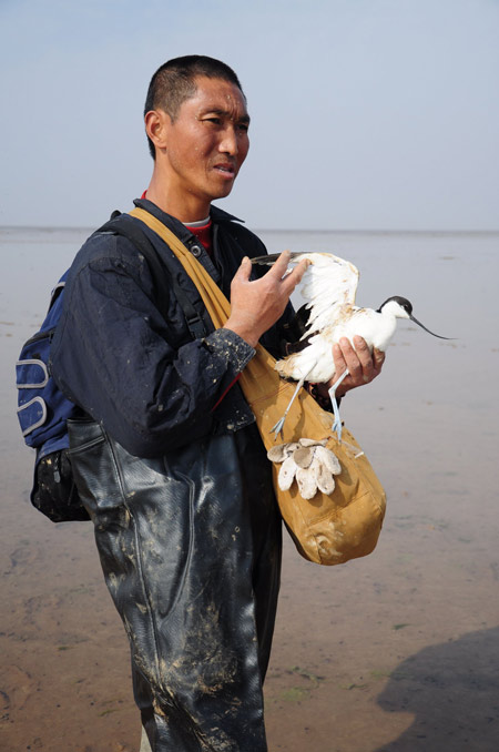 Huang Xianyin holds an injured snipe at Poyang Lake on Friday. The injured bird was abandoned bird after it got caught in a net.