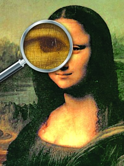Under the microscope: Historians in Italy have discovered that by magnifying the eyes of the Mona Lisa painting tiny numbers and letters can be seen.
