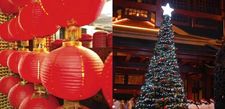 Chinese Christmas.Comparison Of Chinese New Year And Western Christmas China