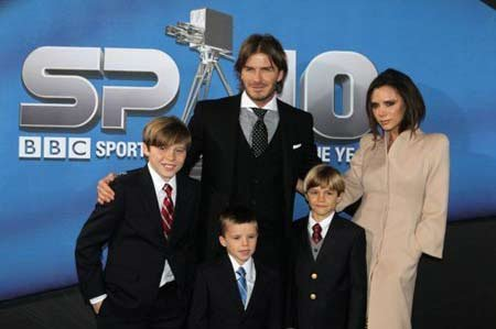 File photo of David, Victoria Beckham and their three sons.