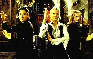 Lucy Liu (left) in her first lead role as Alex Munday in Charlie's Angels.