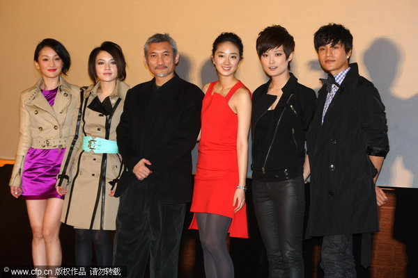 Director Tsui Hark (Picture 1: 3rd from left) leads cast members of 'The Flying Swords of Dragon Gate' in promoting the film in Beijing on Monday, January 24, 2011.