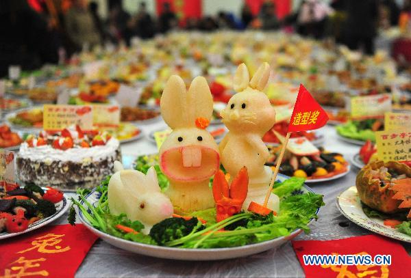 Photo taken on Jan. 27, 2011 shows rabbit-themed dish during a grand feast held at the Baibuting Community in Wuhan, capital of central China's Hubei Province.
