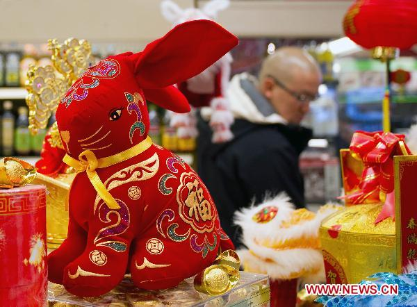 A customer shops for the upcoming Chinese Lunar New Year, or the Spring Festival, at a Chinese supermarket in Toronto, Canada, Jan. 28, 2011.