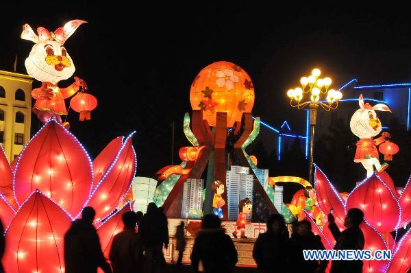 Photo taken on Jan. 31, 2011 shows lanterns at a lantern festival embracing the coming spring festival in Rushan City of east China's Shandong Province. Series of lanterns were lit up on the opening day of the lantern festival on Monday. [Xinhua]