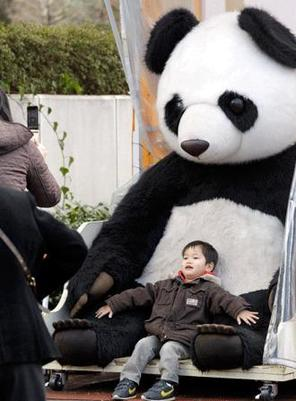 A boy poses for a photo in front of a stuffed giant panda at Tokyo's Ueno Zoo Friday. People are getting ready to welcome two giant pandas arriving Monday. [Global Times]