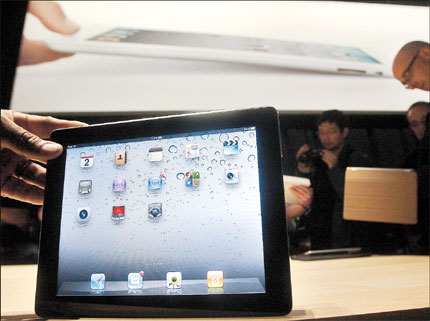 The iPad 2 is shown at the Yerba Buena Center for the Arts Theater in San Francisco after an Apple event on March 2.