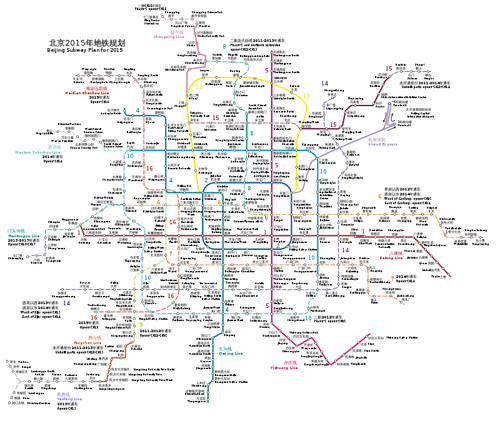 A map showing Beijing subway lines currently in operation (solid lines) and lines projected for completion before 2015.