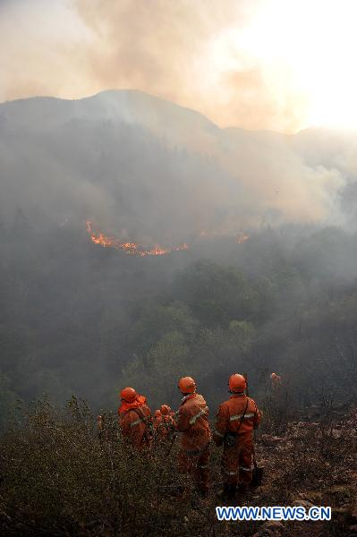 Fire is seen in a forest that borders the cities of Jingzhong and Yangquan, north China's Shanxi Province, April 30, 2011. The fire started at about 9 p.m. on Friday. No casualties have been reported as of Saturday noon. The battle against the blaze is still underway.