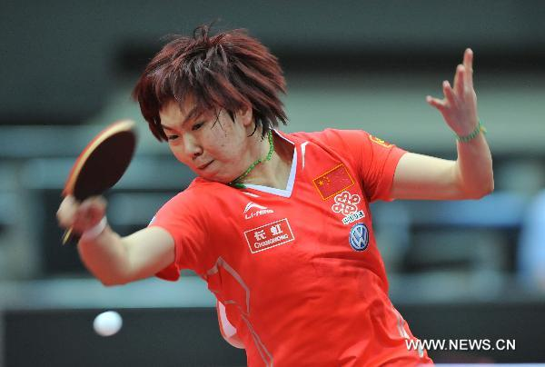 Li Xiaoxia of China returns the ball during the third round match of women's singles against Kim Jong of DPRK in World Table Tennis Championships (WTTC) at Ahoy Arena in Rotterdam, Netherlands, May 11, 2011. Li won 4-0. (Xinhua/Wu Wei)