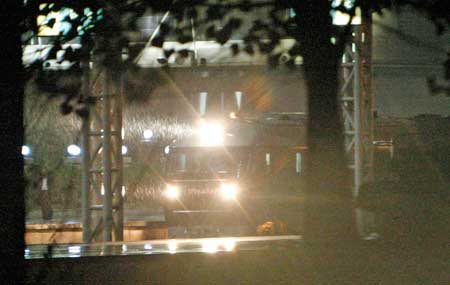 A train allegedly carrying Kim arrives in Yangzhou Sunday at 7:54 pm. [Lu Yun/Global Time]