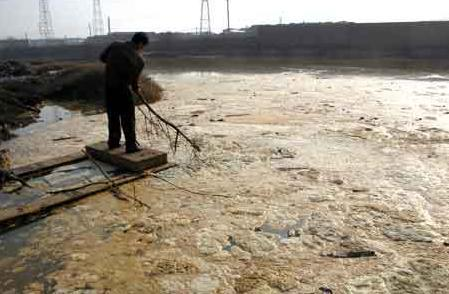 A local government employee skims scum from a sewage treatment pond in Zhuzhou, Hunan Province in 2006. [CFP]