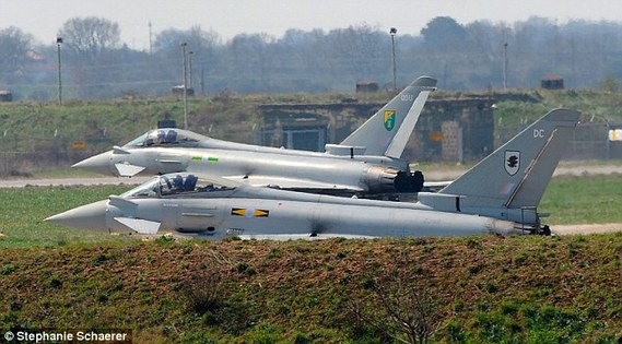 £75million risk: RAF Eurofighter Typhoon at Italian airbase in Gioia del Colle where the two pilots were based. They were found drunk in the nearby town hours before they were due to begin a bombing raid.