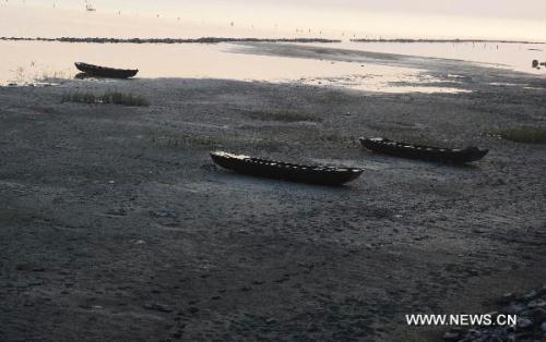 Photo taken on May 28, 2011 shows the stranded boats on the dried field of Chaohu Lake in Chaohu City of east China's Anhui Province. At least 200 boats piled up in Chaohu Lake as the drought hit Anhui Province.[Xinhua]
