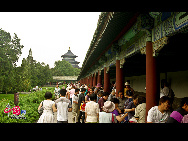 The Temple of Heaven, literally the Altar of Heaven, is a complex of Taoist buildings situated in southeastern Beijing. The Emperors of the Ming and Qing dynasties visited the complex annually when they prayed to Heaven for good harvests. It is regarded as a Taoist temple, although Chinese Heaven worship, especially by the reigning monarch of the day, actually pre-dates Taoism. [China.org.cn]