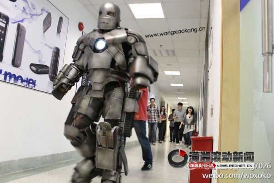 Man wears Iron Man suit to work