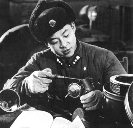 The great communist fighter Lei Feng was a squad leader of the transportation company of the engineer unit of the Shenyang Military Area. He served the people heart and soul. In 1962, he died at his post. Mao Zedong called on people around the country to 'Learn from Comrade Lei Feng.'