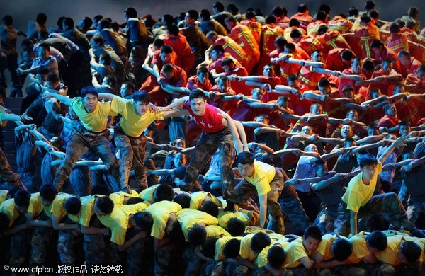 Dancers perform during a gala show to celebrate the 90th anniversary of the founding of the Communist Party of China (CPC) at the Great Hall of the People on June 28, 2011 in Beijing.