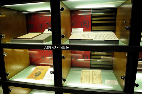 Authentic writings of Sun Yat Sen have been kept in well-illuminated glass cases.