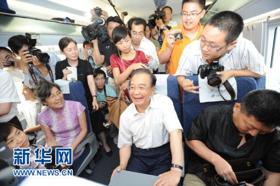 Chinese Premier Wen Jiabao has attended the launch ceremony at Beijing South Railway Station, to mark the inaugural journey on the new Beijing-Shanghai high-speed line.