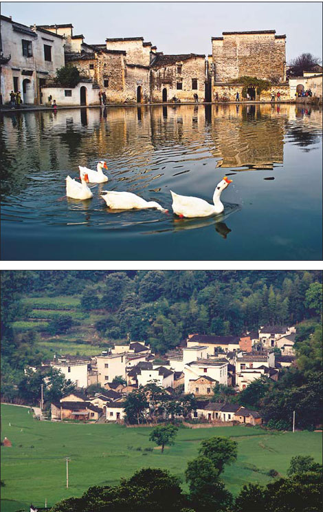 Top: White geese swim in the dark green tranquil waters of the village pond. Bottom: Hongcun is the perfect picture of idyllic rural life, seemingly caught in a time warp. Shi Guangde / For China Daily