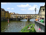Old Bridge is a Medieval bridge over the Arno River, in Florence, whose most striking feature is the multitude of shops built upon its edges, held up by stilts. . [Zhangfang/China.org.cn]