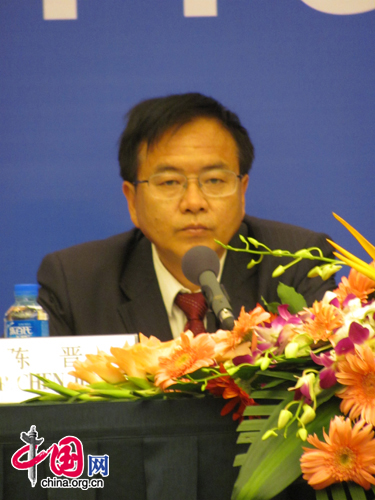 Chen Jin answers questions, Monday July 4, from foreign diplomats at a briefing regarding Hu Jintao's July 1 speech. [Photo by Lauren Ratcliffe]