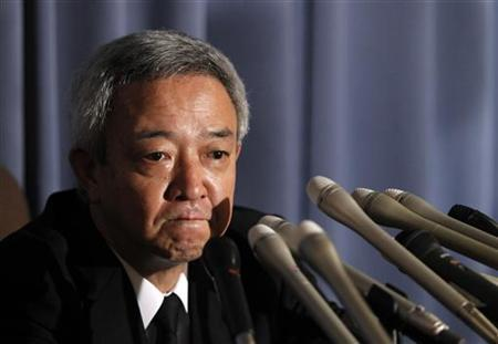 Japan's newly appointed reconstruction minister Ryu Matsumoto speaks at a news conference after resigning his post, in Tokyo July 5, 2011.