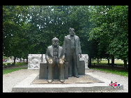Marx-Engels-Forum is a public park in the central Mitte district of Berlin, the capital of Germany. It is named for Karl Marx and Friedrich Engels, authors of The Communist Manifesto of 1848. [Zhang Fang/China.org.cn]