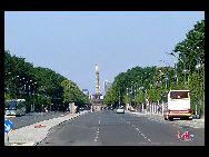 A view of the Victory Column (Siegess&#228;ule) through the Victory Avenue. The monument was constructed to celebrate the military successes of Prussia over Denmark. In 1938 Hitler moved it from its place in front of the Reichstag to the centre of Tiergarten where it stands today. [Zhang Fang/China.org.cn]