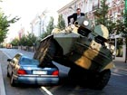 Illegally parked car crushed in Lithuania's capital