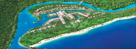 A bird's eye view of the St. Regis Sanya Yalong Bay Resort, which offers exclusive access to more than 800 meters of pristine coastline. [Photo source: China Daily]