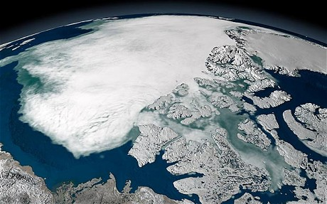 Arctic sea ice above North America in 2005.[ALAMY]