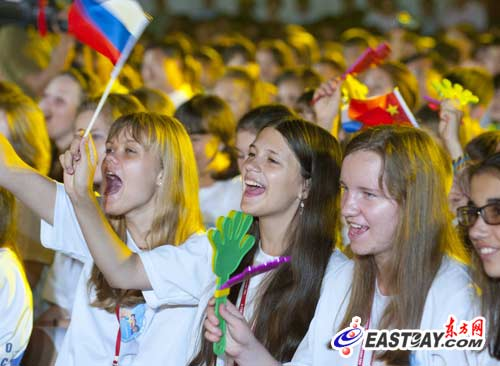 Russian teenagers in Shanghai. A group of 450 Russian teenagers concluded a 12-day summer camp in China on Wednesday.