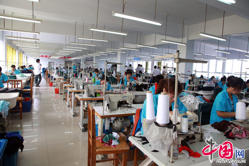Manufacturing plant of Yifeng Sportswear Company in Huludao.