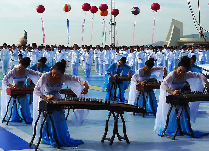 Taiji performance on stage at Huludao beach