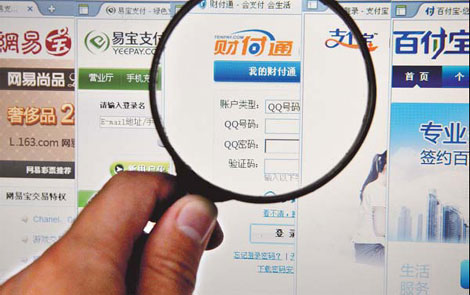 A netizen browses third-party payment websites in Taizhou, Zhejiang province. The People's Bank of China will decide whether 131 companies will be awarded licenses allowing them to operate. [China Daily]