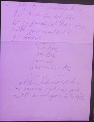 Singer Michael Jackson's handwritten lyrics are on display at the New World Department Store in Beijing Sept. 8, 2011.