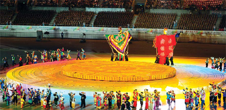 Final rehearsal on the eve of the opening ceremony. Zhao Hui / for China Daily