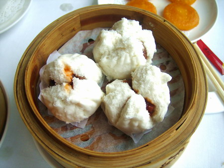 BBQ pork buns, one of the 'top 10 famous Guangzhou dim sums' by China.org.cn.