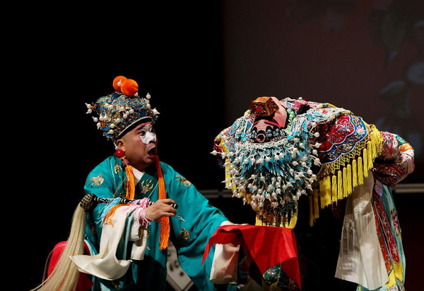 Artists perform in the Beijing Opera 'The Imperial Concubine is Drunk' at the Lincoln Center in New York, the United States, Sept. 17, 2011.