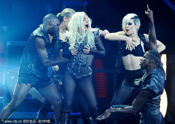 Singer Lady Gaga performs onstage at the iHeartRadio Music Festival held at the MGM Grand Garden Arena on September 24, 2011 in Las Vegas, Nevada. 