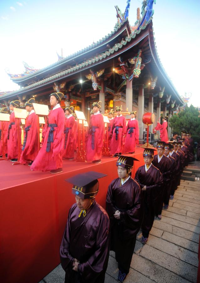 A ceremony is held in Taipei, southeast China's Taiwan, on Sept. 28, 2011, to commemorate the 2,562nd birthday of Confucius (551-479 BC), a Chinese thinker, educationist and philosopher.