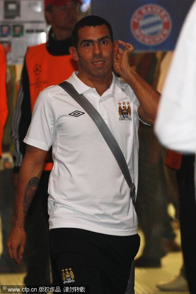 Carlos Tevez leaves the stadium the UEFA Champions League group A match between FC Bayern Muenchen and Manchester City at Allianz Arena on September 27, 2011 in Munich, Germany.