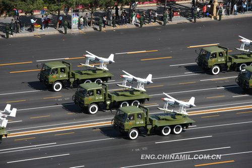 The unmanned aerial vehicles (UVAs) formation marches past the Tian'anmen Square in the military parade in the celebration of the 60th anniversary of the founding of People's Republic of China held in Beijing Oct.1, 2009.