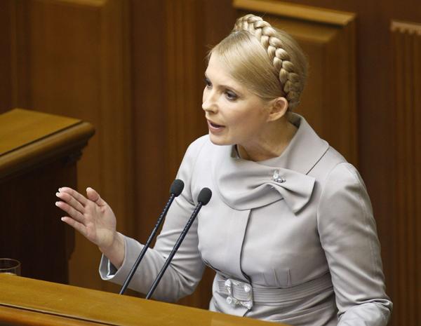 Former Ukrainian Prime Minister Yulia Tymoshenko addresses the parliament in Kiev March 3, 2010. [Xinhua/Reuters File Photo]